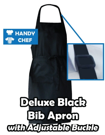 Black Adjustable Buckle Chef Bib Apron, Kitchen Black Bib Apron