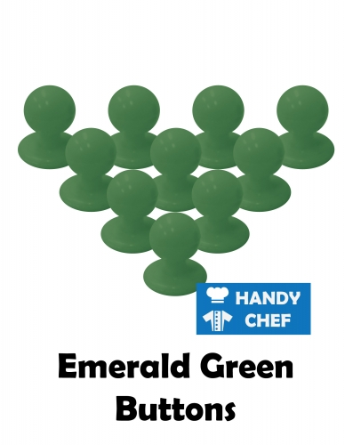 Chef emerald jacket buttons, kitchen coat emerald press studs