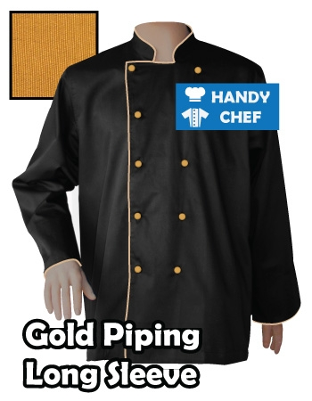 Executive Chef Long Sleeve Black Jacket, Kitchen Gold Piping Black Coat
