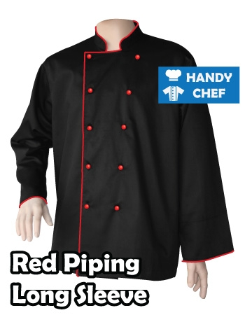Executive Chef Long Sleeve Black Jacket, Kitchen Red Piping Black Coat