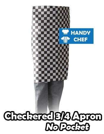 Black White Check Quarter Apron, Kitchen White Checker Quarter Apron