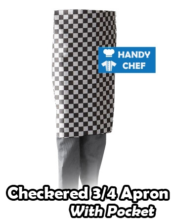B&W Checkered 3/4 Aprons with Pocket