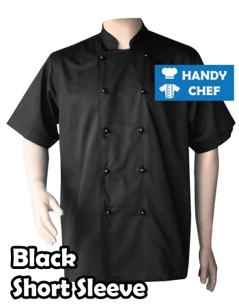 Restaurant Black Short Sleeve Chef Jackets, Kitchen Black Buttoned Coat