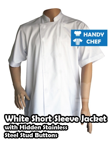 Chef white jackets hidden steel buttons, kitchen stud buttoned white coats