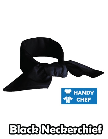 Black Chef Neckerchief, Black Coloured Baker Neckerchief