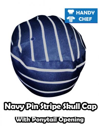 Kitchen Navy Striped Skull Cap, Baker Pin Striped Ponytail Hat
