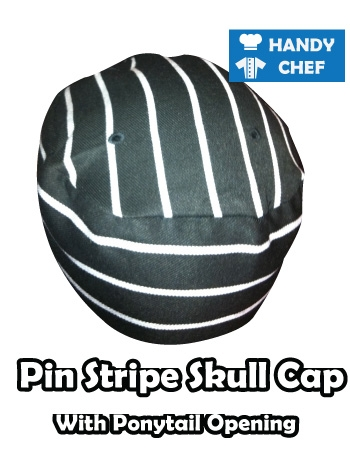 Kitchen Black Striped Skull Cap, Baker Pin Striped Black Hat