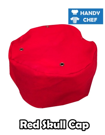 Chef Red Skull Cap, Kitchen Red Coloured Cap Hat