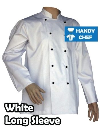 Traditional White Long Sleeve Chef Jacket with Black Buttons