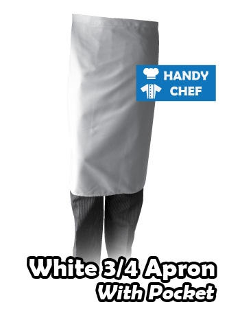 Bistro White Chef Quarter Apron, Kitchen Long White Pocketed Apron