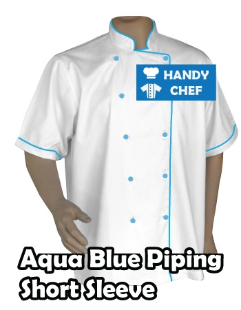 Chef Short Sleeve Blue Piped White Jacket, Aqua Blue Piping Short White Coat