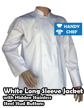 Chef white jackets long sleeve hidden steel buttons, kitchen stud long white coats