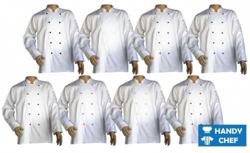 Executive Chef Long Sleeve White Jacket, Kitchen Colour Button Long White Coat ideal for sous chefs, bakers, professional chefs, and commercial working staff