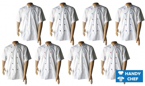 Executive Chef Short Sleeve White Jacket, Kitchen Colour Button White Coat