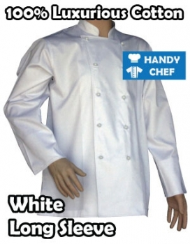 Traditional White Long Sleeve Cotton Chef Jackets, Luxury Short Sleeve Coat