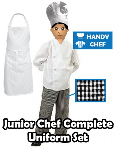 Kids Junior Chef Complete Uniform Kit, Jacket Pant Apron Set