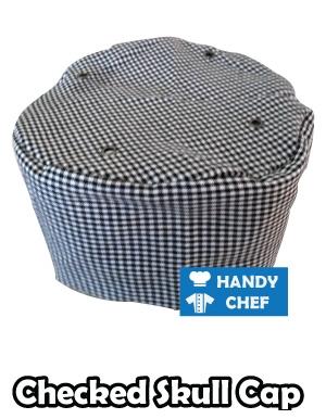 Kitchen Chef Checked Cap, Commercial Baker Black White Skull Hat