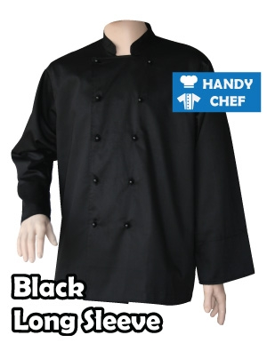 Restaurant Black Long Sleeve Chef Jackets, Kitchen Black Buttoned Coat