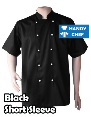 Restaurant Black Short Sleeve Chef Jackets, White Buttoned Short Coat