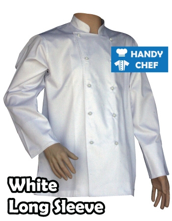 Traditional white chef jackets, long sleeve white buttons cooking coat