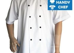 Traditional White Short Sleeve Chef Jackets with Black Buttons
