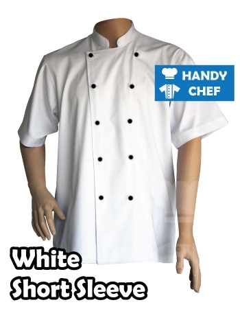 Traditional white short sleeve chef jackets, black buttons white coat