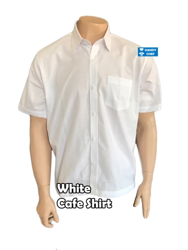 Plain white cafe shirts, standard restaurant hospitality polo attire