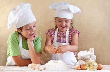 Aspiring Young Chefs with Apron and Caps
