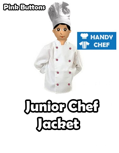Junior Chef White Jackets, Kids Pink Buttoned White Coat