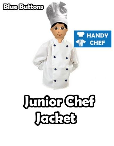 Junior Chef White Jackets, Kids Blue Buttoned White Coat - Handy Chef