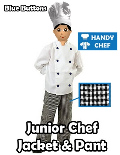 Kids Junior Chef Pack, Junior blue buttoned jacket pant set