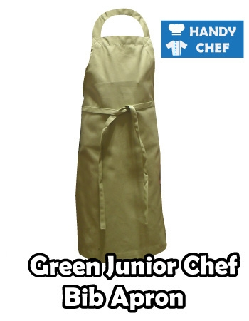 Junior Chef Green Coloured Apron, Kids Green Bib Apron Coat