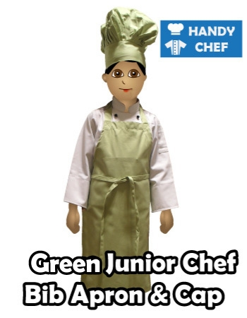 Junior Chef Green Coloured Bib Apron, Kids Green Cooking Cap