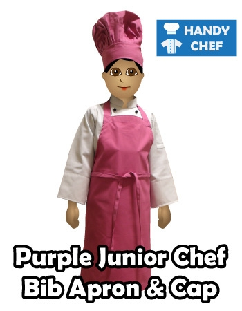 Junior Chef Purple Coloured Bib Apron, Kids Purple Cooking Cap
