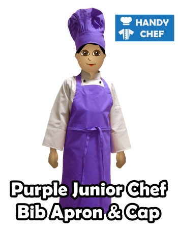 Junior Chef Purple Coloured Bib Apron, Purple Cap