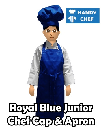 Junior Chef Royal Blue Coloured Apron, Kids Royal Blue Cap