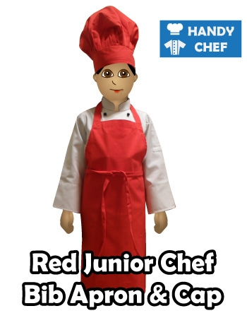 Junior Chef Red Coloured Bib Apron, Kids Red Cooking Cap