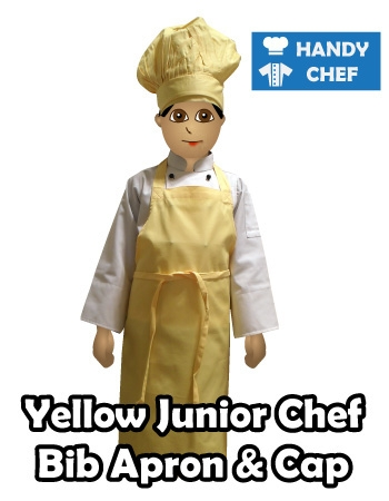 Junior Chef Yellow Coloured Bib Apron, Kids Yellow Cooking Cap