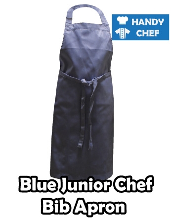 Junior Chef Blue Coloured Apron, Kids Blue Bib Apron