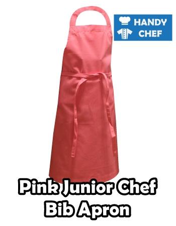 Junior Chef Pink Coloured Apron, Kids Pink Bib Apron