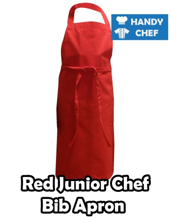 Junior Chef Red Coloured Apron, Kids Red bib Apron
