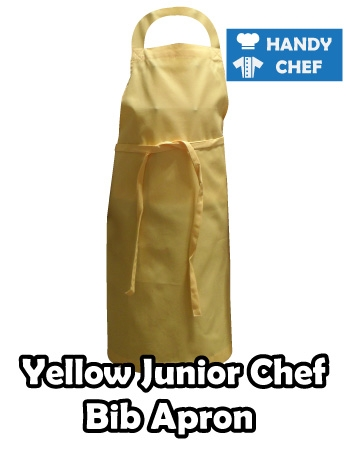 Junior Chef Yellow Coloured Apron, Kids Yellow Bib Apron