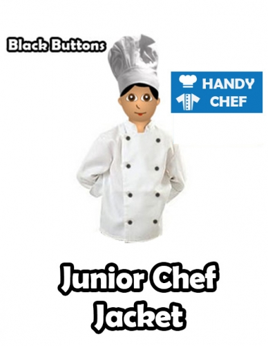 Kids Young Chef White Jacket, Black Buttoned Long Sleeve Coat in Cotton