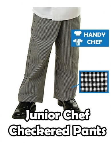 Junior Kids Checkered Pant, Grey Long Pant, Young Kids Cooking Pant
