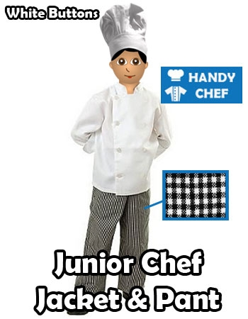 Kids Chef Jacket Pant Set White Buttoned Long Coat