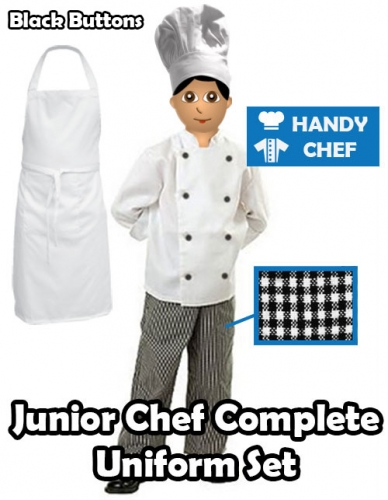 Junior Chef Complete Uniform, Kids Chef Jacket Pant Apron Set