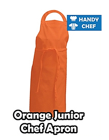Junior Chef Orange Coloured Apron, Kids Orange Bib Apron
