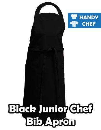 Junior Chef Black Coloured Apron, Kids Black Bib Apron
