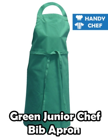 Junior Chef Green Coloured Apron, Kids Green Bib Apron