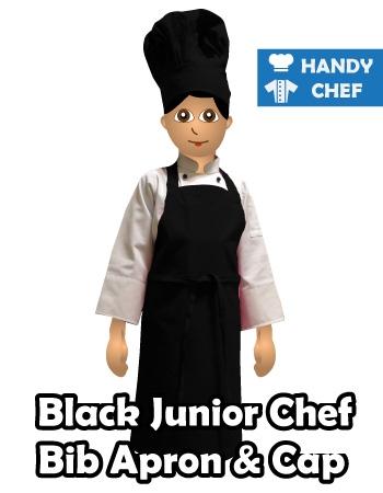 Junior Chef Black Coloured Bib Apron, Kids Black Cooking Cap